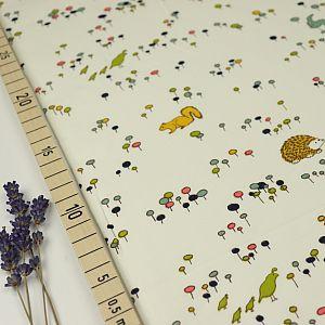 Bio Popeline Baumwollstoff Meadow Run weiß von Birch Fabrics