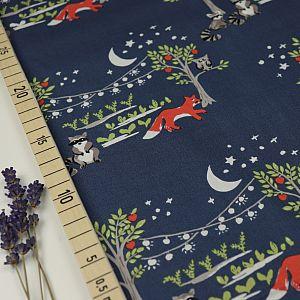 Bio Popeline Baumwolle Night Garden blau von Monaluna