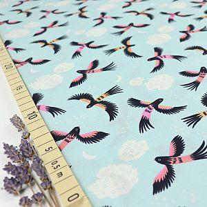 Bio Popeline Baumwollstoff Parrot Play aus der Serie Tropical Garden von Cloud9