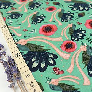 Bio Popeline Baumwollstoff Peacock Bows aus der Serie Forest Jewels von Cloud9