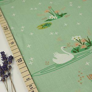 Bio Popeline Baumwolle Swan Lake Main Mint Grün von Birch Fabrics