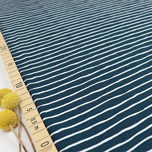 Bio Ringeljersey Stoff Good Vibes Stripes water by night von Stoffonkel
