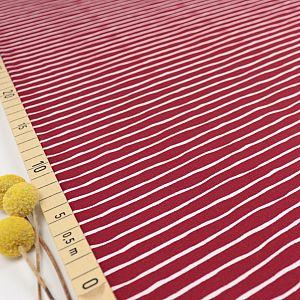 Bio Ringeljersey Stoff Good Vibes Stripes kirsche von Stoffonkel