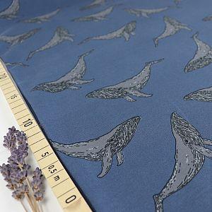 Bio Sommersweat Whales in dusty blue von Bloome Copenhagen