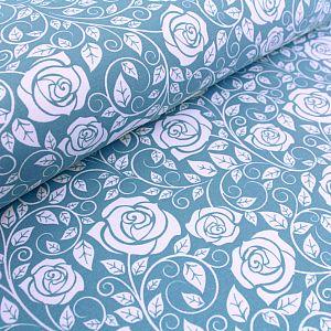Bio Wintersweat Roses lichtblau von Stoffonkel