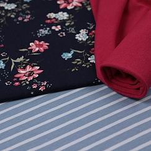 Bio Jersey Motiv Blütentraum von Stoffonkel in dunkelblau