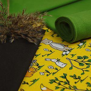 Bio Jersey Stoff Fuchs und Waldtiere gelb