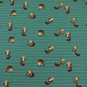 Bio Jersey Motiv Squirrels von Stoffonkel in türkis