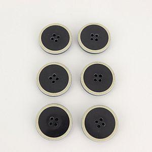 Knöpfe recyceltes Büffelhorn 23mm mit Einfassung beige schwarz im Set