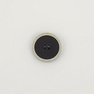 Knopf recyceltes Büffelhorn 23mm mit Einfassung beige schwarz
