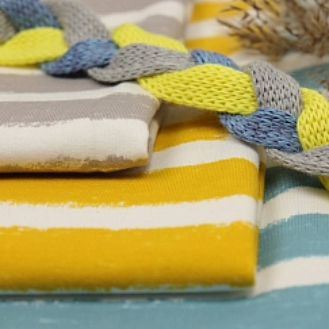 Bio Wintersweat Mellow Stripes senf gelb von Stoffonkel