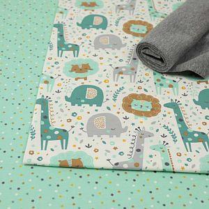 Bio Jersey Stoff Mini Jungle Confetti mint von Stoffonkel