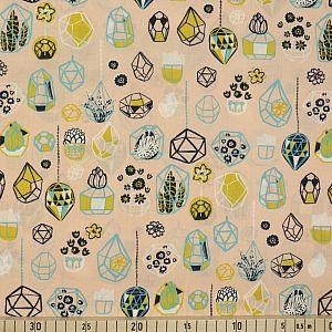 Bio Popeline Baumwollstoff Hanging Terrarium beige von Birch Fabrics