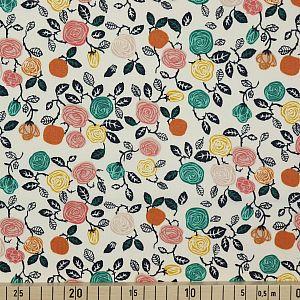 Bio Popeline Baumwollstoff Roses Cream weiß von Birch Fabrics