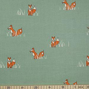Bio Popeline Baumwollstoff Sly Fox petrol von Birch Fabrics