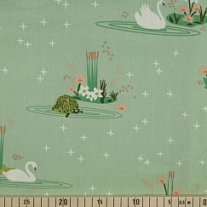 Bio Popeline Baumwollstoff Swan Lake Main Mint Grün von Birch Fabrics
