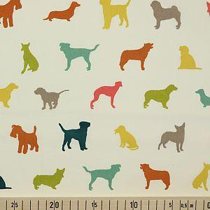 Bio Popeline Baumwollstoff The Show Multi weiß von Birch Fabrics