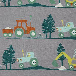 Bio Jersey Stoff Bagger und Traktor grau