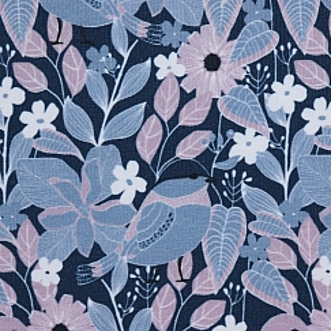 Bio Jersey Stoff Blumen und Vögel indigo