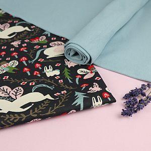 Bio Interlock Jersey Stoff Enchanted Unicorns dusk blau von Birch Fabrics