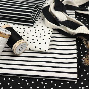 Bio Jersey Stoff Streifen weiß schwarz Ringeljersey Stoffonkel