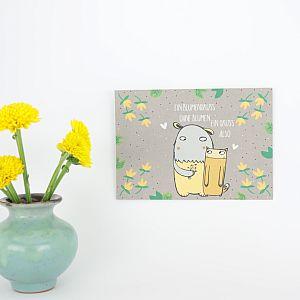 Tigapigs Postkarte Motiv Blumengruss