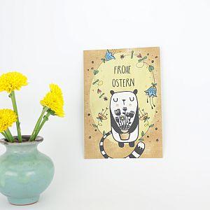 Tigapigs Postkarte Motiv Frohe Ostern