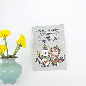 Tigapigs Postkarte Weihnachten Motiv Merry Merry Christmas