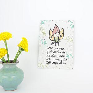 Tigapigs Postkarte - Wenn ich nur zaubern könnte