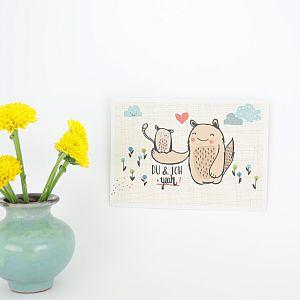 Tigapigs Postkarte zum Geburtstag Motiv Du & Ich = Yeah