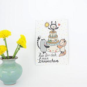 Tigapigs Postkarte zum Geburtstag Motiv Sonnenschein