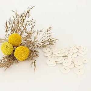 Knöpfe aus recycelter Baumwolle 12mm weiß natur im Set