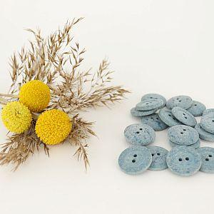 Knöpfe aus recycelter Baumwolle 20mm blau im Set